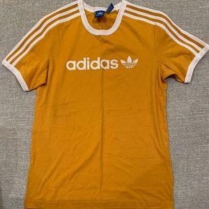 Yellow adidas t shirt with treefoil logo